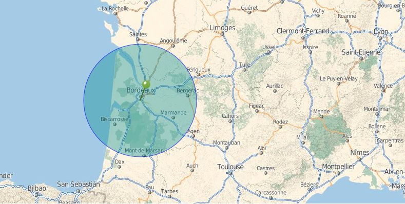 Capture écran d'une carte montrant le rayon d'intervention de Laurent Mouchard